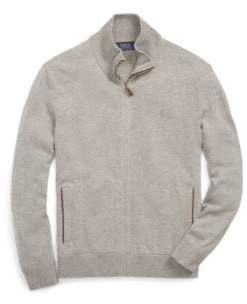 Ralph Lauren Merino Wool Full-Zip Sweater Fawn Grey Heather S