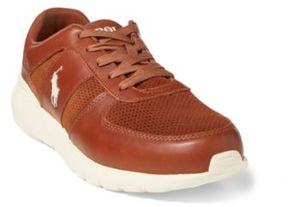 Ralph Lauren Cordell Leather Sneaker Deep Polo Tan 10