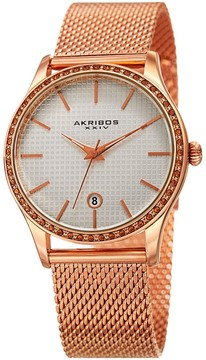 Akribos XXIV White Square-Textured Ladies Rose Gold Tone Watch