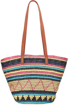 San Diego Hat Company Paper Crochet Tote Bag with Faux-Leather Handles, Multi