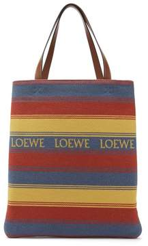Loewe Striped Woven Cotton Tote - Womens - Multi
