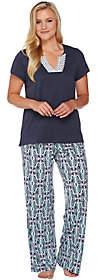 Carole Hochman Cotton Rayon Diamond Ikat Patio Pants Lounge Set