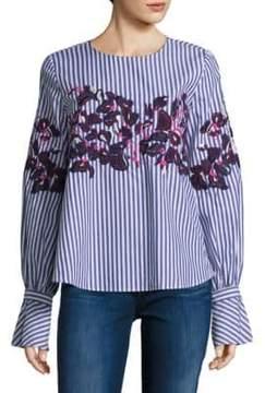 Peserico Marcie Embroidered Menswear Stripe Cotton Shirt