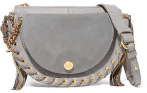 See by Chloe Kriss Small Eyelet-embellished Textured-leather And Suede Shoulder Bag - Gray