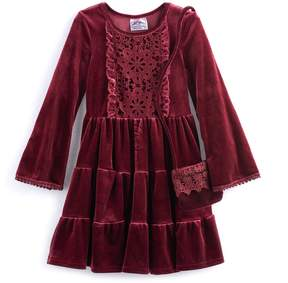 Knitworks Girls 4-6x Tiered Velvet Dress