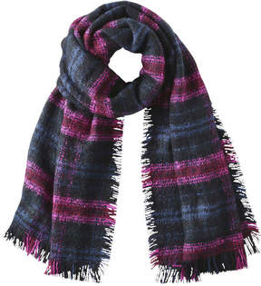 Joe Fresh Women's Plaid Frayed Scarf, Burgundy (Size O/S)
