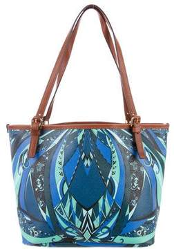 Emilio Pucci Leather-Trimmed Printed Tote