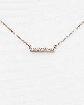 Adina 14K Rose Gold Pavé Diamond Bar Necklace, 15