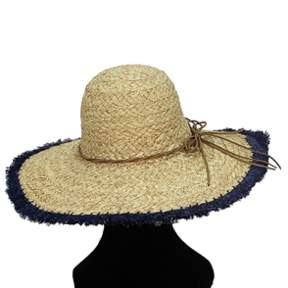 La Fiorentina Oversized Straw Hat With Blue Rim And String Tie.