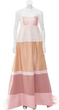 Isaac Mizrahi Strapless Colorblock Gown