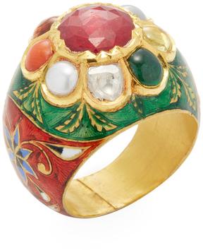 Amrapali Women's 22K Yellow Gold & Navratna Stone Dome Band Ring