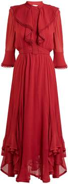 Chloé Ruffle-trimmed handkerchief-hem silk dress