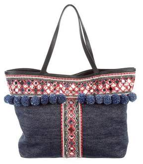 Rebecca Minkoff Embellished Woven Tote - BLUE - STYLE
