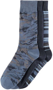 Joe Fresh Men's 3 Pack Camo Socks, Blue (Size 10-13)