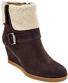 Isaac Mizrahi Live! Suede Wedge Ankle Boots w/Faux Sherpa