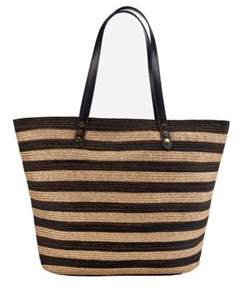 San Diego Hat Company Women's Gold Stripe Polyester Braid Tote Bsb1558.