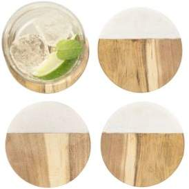 Cathy's Concepts Personalized Marble and Acacia Wood Coaster-Set of 4