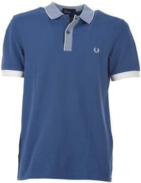 Fred Perry Stripe Collar Light Blue Pique' Polo Shirt