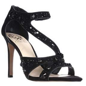 Vince Camuto Kayanne Jeweled Strappy Dress Sandals, Black.