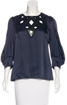 Andrew Gn Leather-Accented Cutout Top
