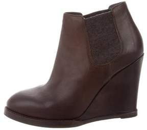 Brunello Cucinelli Leather Wedge Booties