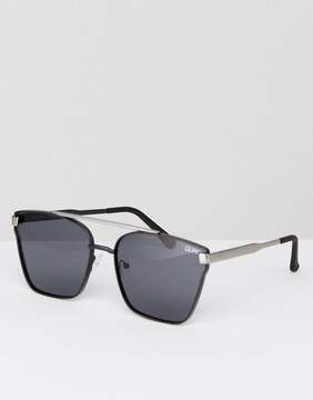 Quay Square Sunglasses With Brow Bar In Black