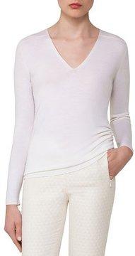 Akris Cashmere-Silk V-Neck Pullover, Off White