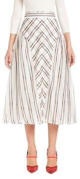 Fendi Stripe & Check A-Line Silk Skirt