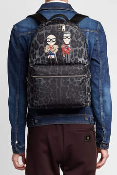 Dolce & Gabbana Printed Fabric Backpack with Leather Motifs