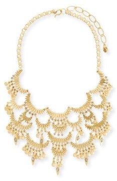Sequin Tiered Golden Bib Necklace