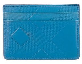 Burberry Embossed Check Card Holder - BLUE - STYLE
