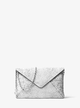 Michael Kors Crackled Leather Envelope Clutch - WHITE - STYLE