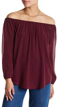 Chaser Silk Off-the-Shoulder Open Sleeve Shirt