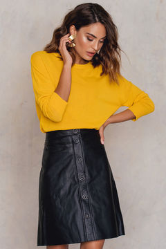 Filippa K Panel Button Leather Skirt