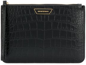 Emporio Armani classic textured clutch