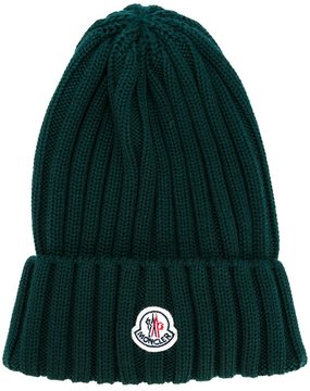 Moncler ribbed beanie hat