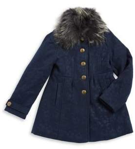 Jessica Simpson Girl's Faux Fur-Trimmed Long Sleeve Coat