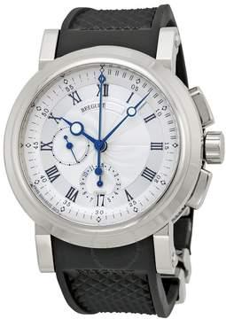 Breguet Marine Silver Dial Black Rubber 18kt White Gold Men's Watch 5827BB125ZU