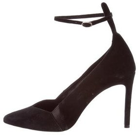 Maje Suede Pointed-Toe Pumps