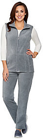 Denim & Co. As Is Active Vest & Pants Velour Set