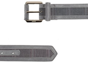 Brioni Leather Signature Buckle Belt Grey.