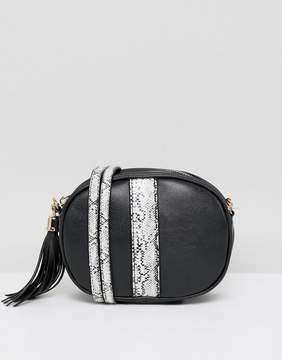 French Connection handbag with faux snakeskin trim