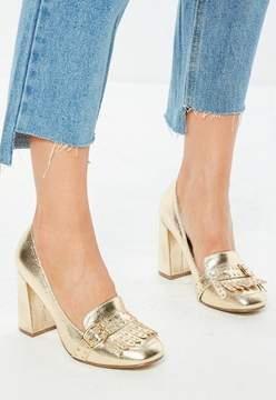 Missguided Gold Fringe Square Toe Pumps