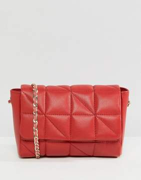 Asos DESIGN Leather Soft Quilt Cross Body Bag With Chain Strap