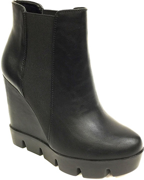 Bamboo Black Invent Wedge Bootie
