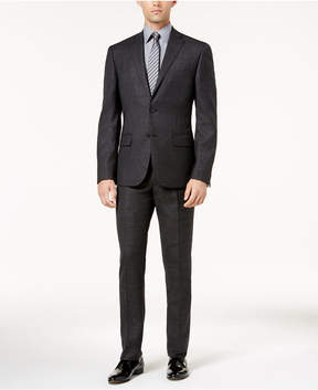 DKNY Men's Slim-Fit Black and Gray Mini Check Wool Suit