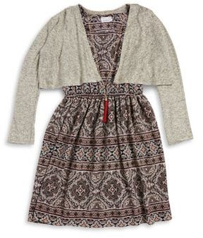 Iris & Ivy Girl's Two-Piece Dress & Cardigan With Necklace Set