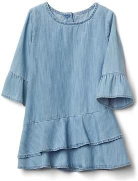 Gap Ruffle bell-sleeve denim dress