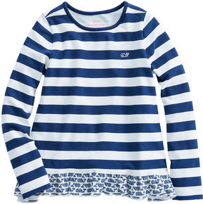 Vineyard Vines Girls Etched Whale Ruffle Top