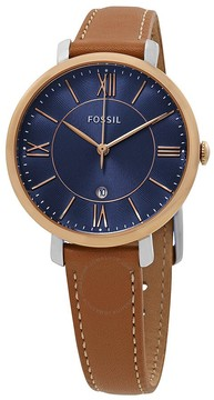Fossil Jacqueline Blue Dial Ladies Leather Watch